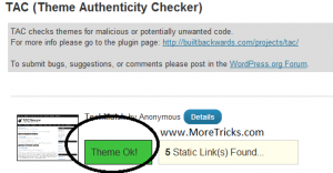TAC WordPress Plugin for checking Theme for malicious codes