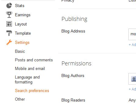 Advanced SEO feature in Blogger blogspot blogs