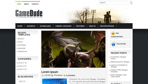 Free blogger templates for gamers