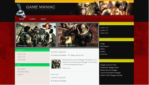Best Free Gaming template for Blogger