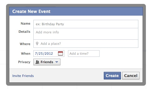 Screenshot of add event for facebook calendar
