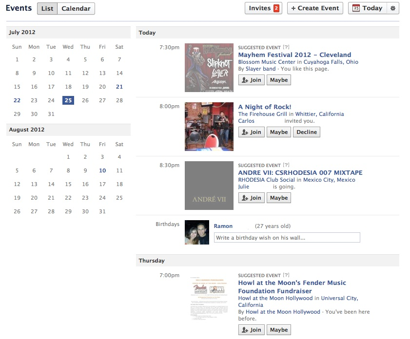 Screenshot of Facebook calendar list