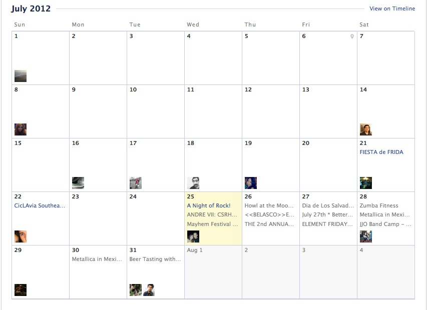 Screenshot of Facebook calendar